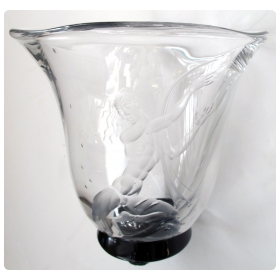 a good quality swedish art deco etched glass vase of an undersea harp player possibly apollo; form by simon gate, decoration by vicke lindstrand for orrefors; signed