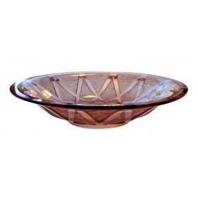a large-scaled french art deco frosted and clear amethyst glass bowl with geometric design; with raised mark 'verlys france'