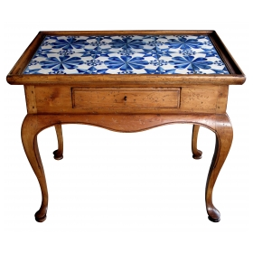 a shapely danish rococo style stripped pine single-drawer side Tables with delft blue-and-white tile top
