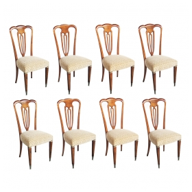 a stylish set of 8 italian 1940's pear wood shield-back dining Chairss by emo fabry