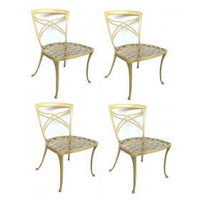 a stylish set of 4 american 1960s yellow-painted aluminum garden chairs by brown jordan