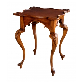 a graceful english george II style carved mahogany side Tables with exaggerated cabriole legs