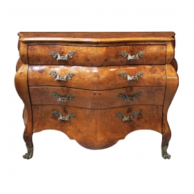 a shapely and large-scaled italian rococo style olivewood bombe-form 4-drawer chest
