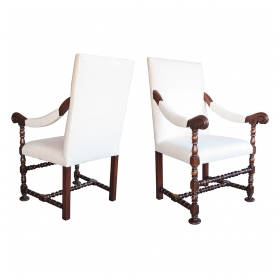 a robust pair of flemish baroque style walnut armchairs a la reine