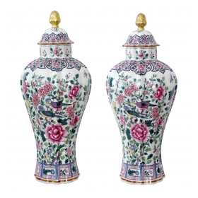 an elegant pair of french paris porcelain baluster-form famille rose covered jars; marked 'porcelaine de paris, france'