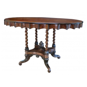 well-carved danish late empire mahogany oval center table with barley twist supports and ebonized highlights