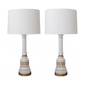 a stylish pair of american 1960's baluster-form white opaline glass lamps with gilt greek key design