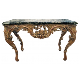 superb and finely carved french regence giltwood console table with grape vine motif and sage green marble top