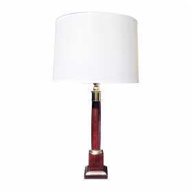 a stylish french 1940's crimson bakelite columnar lamp with bronze fittings