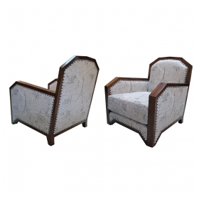 a stylish pair of french art deco club Chairss with faceted mahogany frames