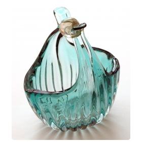a shimmering murano mid-century aqua-marine ribbed art glass basket