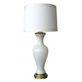 an elegant french 1960's white opaline baluster-form glass lamp