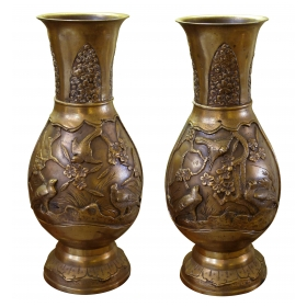 a finely-detailed pair of japanese brass vases with birds and foliate motifs