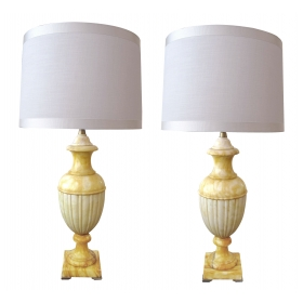a large-scaled and elegant pair of italian urn-form butter-yellow and ivory alabaster lamps; with label 'marbro lamp co, los angeles; alabaster stone; hand made in italy'