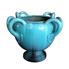 a massive french turquoise drip-glaze pottery jardinière; stamped 'Clément Massier  Golfe-Juan'