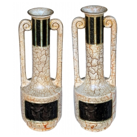 a stylish pair of english art deco double-handled crackle-glaze earthenware urns with neoclassical reliefs