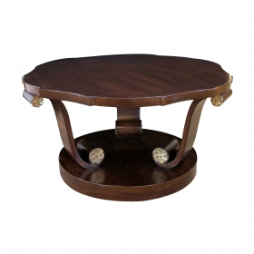 a handsome american art deco style mahogany cocktail Tables with scrolled legs