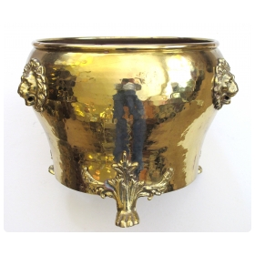 a rare and large-scaled imperial russian hand-hammered brass jardiniere with lion head mounts; imperial russia stamp, city of Tula (in Cyrillic)