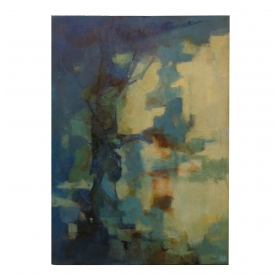a moody american 1960's abstract oil painting entitled 'Blue Giant' signed lower right 'C. Burger 61' (Charlotte Burger); ex-collection Owens Corning, Toledo, Ohio