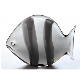 a whimsical murano 1960's smoked art glass fish with white stripes; acid etched 'LZ' for master craftsman Licio Zanetti