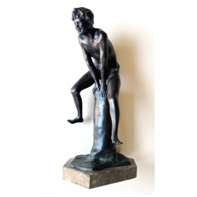 a playful italian grand tour bronze figure of a young male athlete; signed 'Gerente'