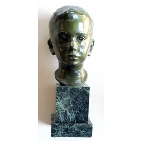 a beautifully rendered american 1940's bronze bust of a young boy on marble plinth; signed 'JG Kendall 1945' (Gorham Co. Foundry)