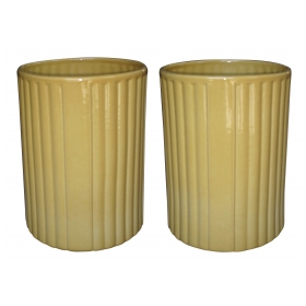 a large-scaled pair of american 1940's golden-yellow glazed ceramic umbrella jars; designer Harold Holman, Alamo Pottery, San Antonio, Texas