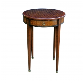 a tailored french louis XVI style tulip and kingwood-veneered circular single-drawer side Tables