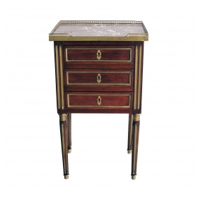 a good quality french louis XVI 3-drawer mahogany commode with marble top and gilt-bronze mounts