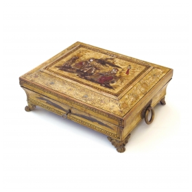 an elegant english regency yellow-lacquered chinoiserie jewelry box