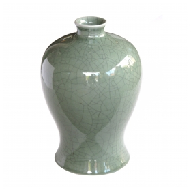 an elegantly-shaped chinese celadon crackle-glazed mei ping (plum) vase