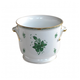 "a large and good quality hungarian 1950's white-glazed cachepot with green polychromed and gilt floral decoration; underglaze blue mark ""Herend, Hungary, Handpainted"""