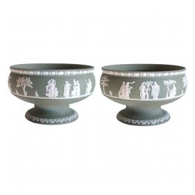 an elegant pair of english jasperware olive-green compotes; stamped 'wedgwood'