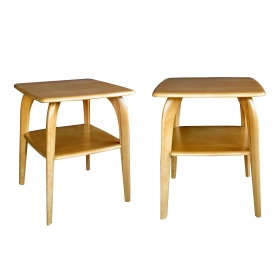 a shapely and sturdy pair of american mid-century solid maple square side Tabless; stamped 'Heywood Wakefield; est. 1826'