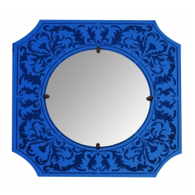 a stylish american art deco bulls-eye mirror with etched cobalt blue frame