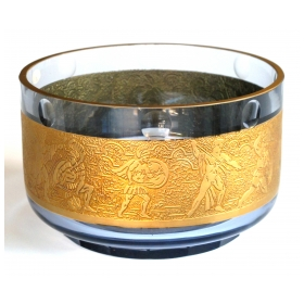 a good quality amethyst art glass circular bowl with gilt-frieze by moser glass works (with foil label)