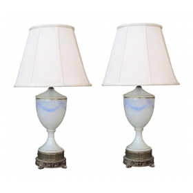 a good quality pair of french white opaline urn-form lamps with hand-painted garland