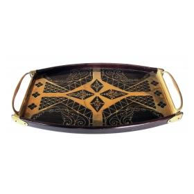 a good quality german erhard & sohne mahogany tray with brass inlay