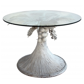 a fanciful pair of american 1940's white painted rattan and wood palm frond tables with circular glass tops