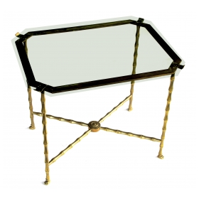 a stylish french 1940's faux-bamboo brass side table by maison bagues, paris