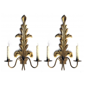 a stylish pair of italian 1960's gilt-tole foliate-form 2-light wall sconces