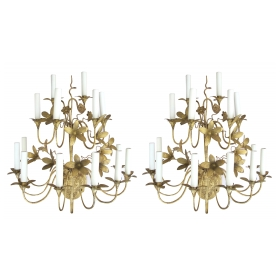 a lively and large pair of french 1920's gilt-tole 14-light floral sconces