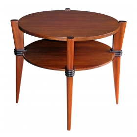 a chic french 1940's ribbon-mahogany circular side table with ebonized highlights