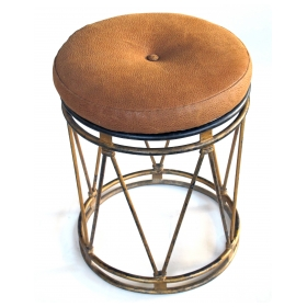 a stylish french 1940's gilt-iron openwork cylindrical stool in the manner of jean royere