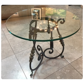 a charming french art deco wrought iron side table with glass top