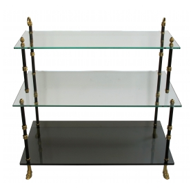 a good quality french 1940's 3-tier etagere with glass shelves by maison jansen, paris