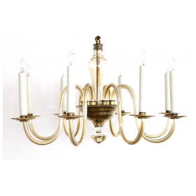 a shapely murano 1950's pale gold glass 8-light chandelier