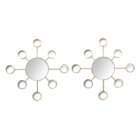 an iconic pair of 1960's stylized solid brass sunburst mirrors