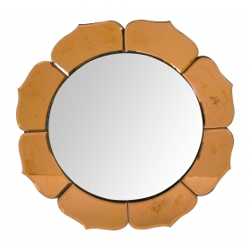 a good quality french art deco convex mirror surrounded by peach-colored mirrored petals
