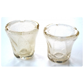 a pair of thickly-modeled french mid-century vases with controlled bubbles; acid etched 'daum-nancy france'